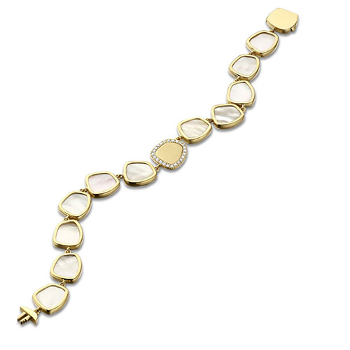 GRACE | Bracelet en or jaune 18 carats, nacre blanche et brillants de la collection Madreperla.