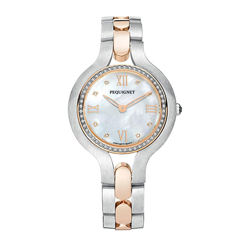 Pequignet Manufacture | Montre Trocadéro en acier et plaqué or rose, cadran en nacre, lunette et indexes sertis de brillants. Mouvement à quartz de qualité suisse (Réf. : 9032733F/30).